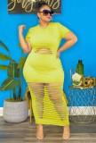 Vestido de fiesta largo rasgado sexy verde de talla grande de verano