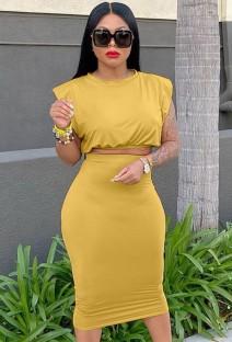 Conjunto de saia lápis e top formal amarelo sexy amarelo para verão