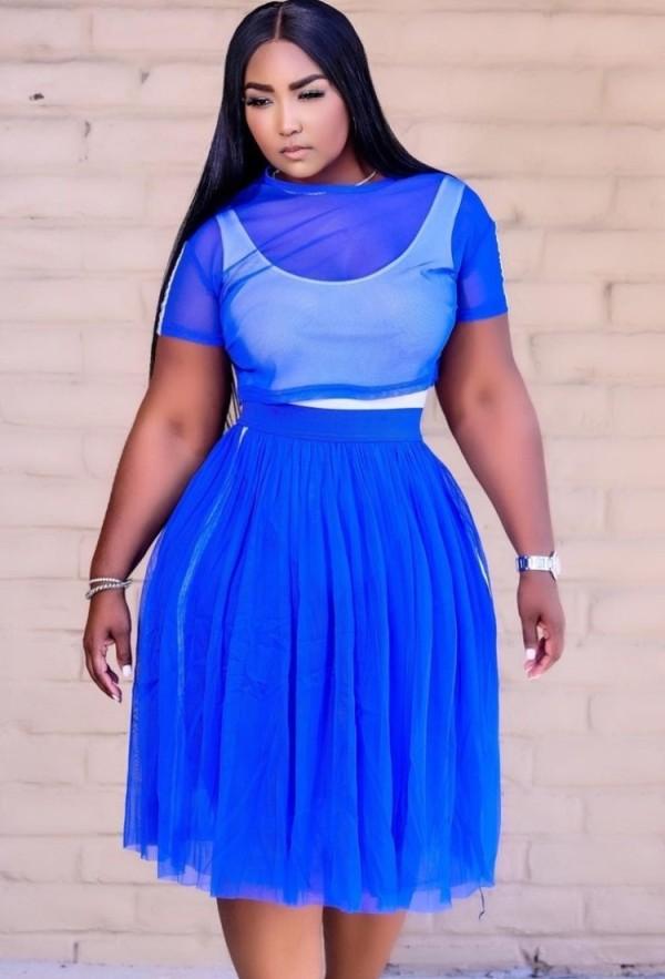 Conjunto de falda larga y top corto de malla de 3 piezas de verano azul con body
