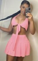 Conjunto de falda plisada y sujetador anudado sexy Summer Pink