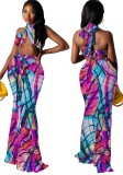 Conjunto de falda larga y top corto cruzado halter multicolor con estampado de verano