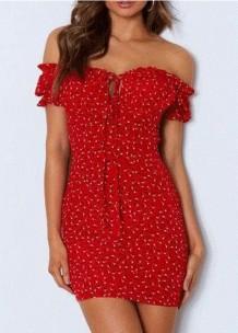 Minivestido con hombros descubiertos rojo floral de verano