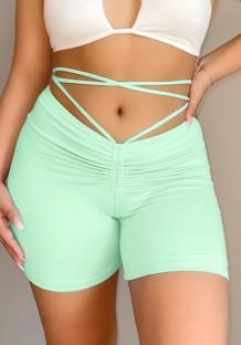 Shorts de corrida sexy com babado verde verão