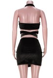 Summer Black Sexy Wrap Halter Crop Top y Minifalda Set