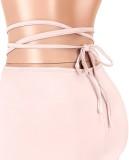 Pantalones cortos de jogging acanalados sexy de verano rosa