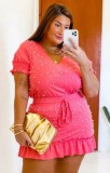 Conjunto de minifalda y camisa informal con cuentas rosadas de verano de talla grande