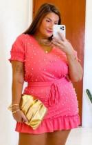 Sommer Plus Size Casual Pink Perlen Shirt und Minirock Set