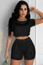 Conjunto de pantalones cortos y top corto negro casual de verano