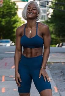 Summer Sports Azul Oscuro Yoga Sujetador y Shorts Conjunto de 2 piezas