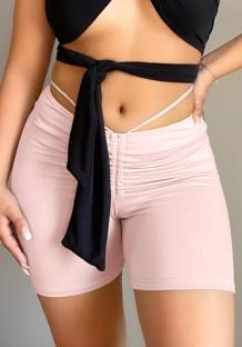 Shorts de corrida sexy rosa com franzido de verão