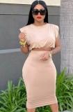 Conjunto de falda lápiz y top corto sexy beige formal de verano