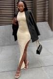 Vestido largo sin mangas con abertura de color caqui formal de verano