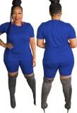 Conjunto de pantalones cortos de motociclista y camisa azul informal de verano de talla grande