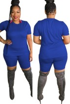 Sommer Plus Size Casual Blue Shirt und Biker Shorts Set