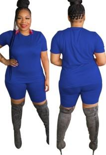 Zomer plus size casual blauw shirt en bikershortset