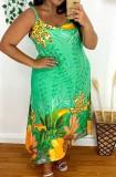 Vestido largo con tirantes verdes y estampado casual de verano de talla grande