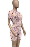 Summer Casual Pink Paints Crop Top y Biker Shorts Conjunto de 2 piezas