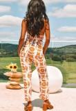 Sommer Print Retro Halfter Crop Top und Bell Pants Set