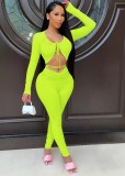 Conjunto de pantalón y top corto de manga larga sexy verde de verano