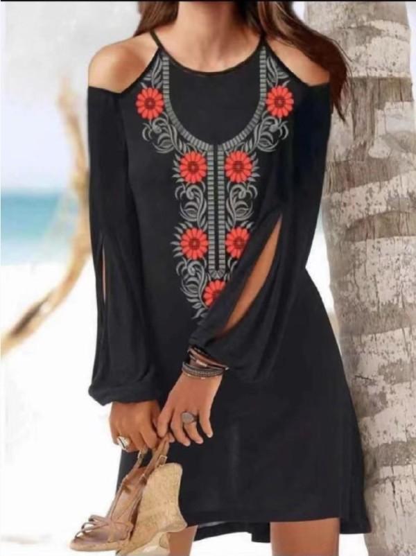 Vestido camisero bohemio con mangas con abertura en el hombro y estampado de verano en negro