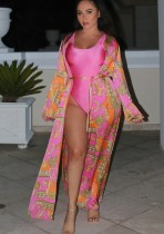 Einteilige sexy Rose-Badebekleidung mit passendem Print-Cover-Up