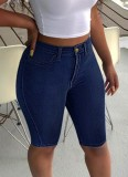 Sommer Dunkelblaue Jeansshorts mit hoher Taille