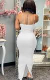 Sommer Sexy White Strap Meerjungfrau Langes Kleid