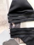 Traje de baño halter de dos piezas con rayas negras