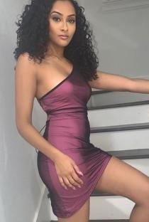 Zomer sexy paarse een schouder mini clubjurk