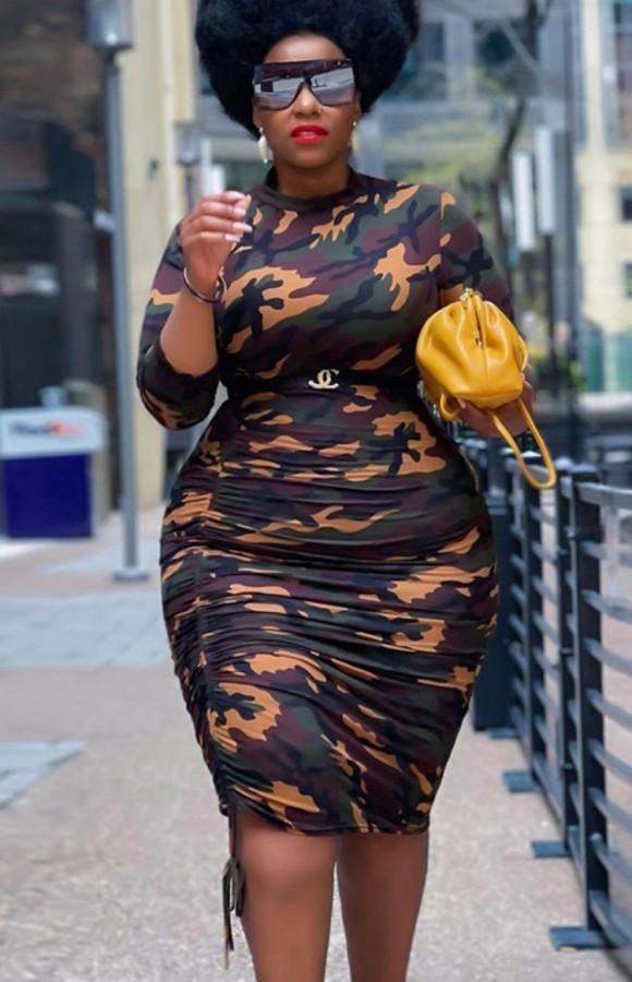 Sommer Plus Size Camou Langarm Rüschen Bodycon Kleid