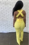 Summer Yellow Sexy Strings Crop Top y conjunto de pantalones