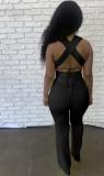 Summer Black Sexy Strings Crop Top y conjunto de pantalones