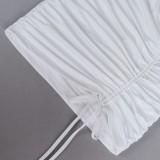 Minivestido con cordones fruncidos con cuello halter y corte sexy de verano blanco