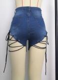 Pantalones cortos de mezclilla de cintura alta con cordones azules de verano