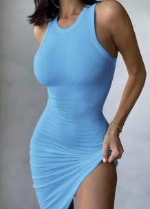 Vestido de verão casual azul em malha irregular sem mangas sem mangas