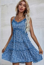 Sommer junges Blumen-Skater-Sommerkleid mit blauem Träger