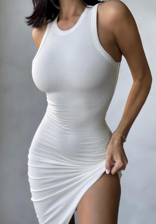 Summer Casual White Knit Unregelmäßiges ärmelloses Trägerkleid