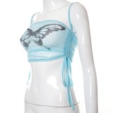 Sommer-Schmetterlings-Print Blau Sexy Neckholder Crop Top