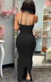 Vestido largo de sirena con correa negra sexy de verano