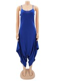Sommer Casual Blue Strap Loose Jumpsuit