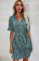 Yaz Genç Dot Yeşil V Yaka Mini Elbise