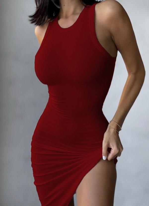 Summer Casual Red Knit Unregelmäßiges ärmelloses Trägerkleid