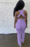 Sommer Lila Sexy Strings Crop Top und Hosen Set