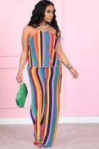Conjunto de pantalón y top halter de rayas arcoíris de verano