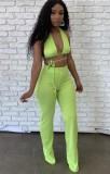 Sommergrün sexy Strings Crop Top und Hosen Set