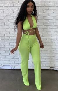 Conjunto de blusa e calças sexy de verão verde com cordas