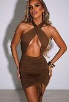 Minivestido con cordones fruncidos con cuello halter y corte sexy de verano marrón
