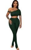 Summer Green Sexy Bodycon Crop Top y conjunto de pantalones