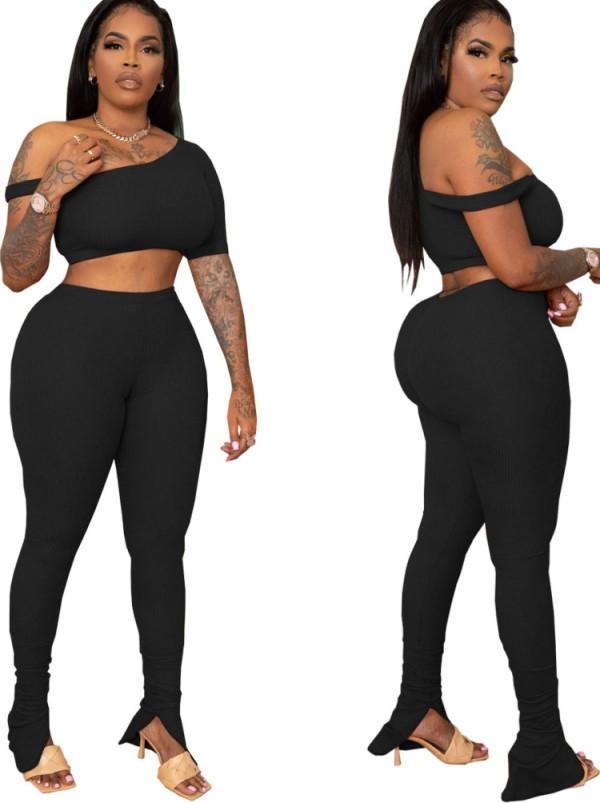 Verano negro sexy bodycon crop top y pantalones conjunto