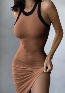 Vestido de verão casual marrom em malha irregular sem mangas sem mangas